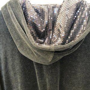 Style & Co Grey Velour Sequin Hooded Sweatshirt